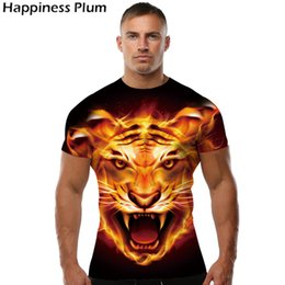 Wholesale Tiger 3d Tshirt - Wholesale-Flame Shirt Tiger T-shirt Anime T Shirt Animal 3d Print Tshirt Cool Slim Men Short Sleeves Mens Brand Clothing 2017 High Quality