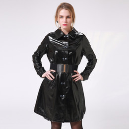 Wholesale Leather Jacket Sexy - Wholesale- Women's Autumn Winter Long Leather Jackets 2017 Long Sleeve Sexy Black Patent Leather Coat 4XL Female Talever ( Gift : Belt )