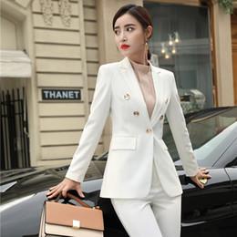 2019 femme portant des vêtements formels Nouveau 2019 Mode formelle femmes Blazers et vestes manteau blanc dames affaires travail portent des vêtements pour femmes OL Styles promotion femme portant des vêtements formels