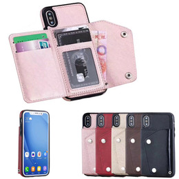 Wholesale Flip Phone Holder - Hot Luxury Phone Case PU Phone Cover Flip Wallet Case Phone holder metal buckle Back Protective Case for iphone X