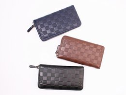 Wholesale Check Cell Phone - Men Wallets Zipper Long Wallet Men 2018 Designer Brand Leather Coin Purse Male Plaid Clutch Phone Wallets portefeuille homme