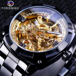 смотреть черные мужчины золотые Скидка Forsining Retro Design Golden Skeleton Black Stainless Steel Transparent Watch Men Automatic Mechanical Watches Top