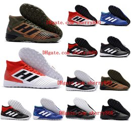 Wholesale Cheap Mens Soccer Cleats - 2018 cheap mens soccer cleats predator 18 indoor soccer shoes football boots Predator Tango 18.3 IC TF scarpe da calcio size 39 - 46 Black