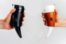 Wholesale horn cups wholesale - 230ML Goat Horns Stainless Steel Thermos Mug Coffee Cup Horn Mug Traveling Bottle With Rope Insulation Cups Free Shipping
