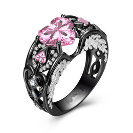 Wholesale Black Gold Wedding Rings - Victoria Wieck choucong Sparkling Jewelry 925 Sterling Silver&Black Gold Filled Heart Shape Pink Sapphire CZ Diamond Gemstones Wing Ring