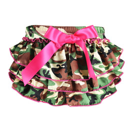 Wholesale Baby Bloomer Dress - 2017 Limited Wennikids Baby Girl Underwear Camouflage Bow Printing Ruffle Bloomer Pants Infant Dress Shorts 0-24m Diaper Covers