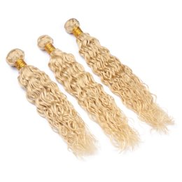 Wholesale hot water hair extensions - Hot Product Wet and Wavy Human Hair Weft Extensions 3pcs Light Blonde Color 613 Human Hair Weave Water Wave Hair Bundles