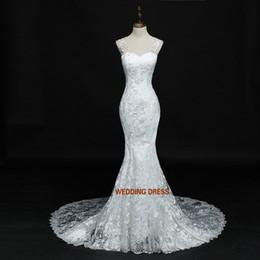 photos de mariage d'été Promotion Robe de mariée en dentelle de sirène 2018 été robe de mariée dos nu Sexy robes de mariée tribunal train de vraies images