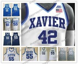 сплит спортивные майки Скидка Пользовательские Xavier мушкетеры любое имя любое число белый синий черный серый сшитый #5 Trevon Bluiett Goodin NCAA колледж баскетбольные майки