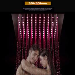 """Acessórios de chuveiro de aço inoxidável on-line-Torneira do banheiro acessório 12 """"quadrado chuva chuveiro 300x300mm LED recesso teto controle remoto 304 espelho de aço inoxidável chuveiro chuveiro LED"""