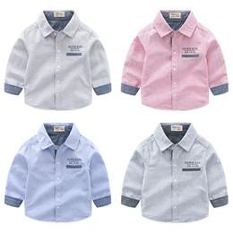 Les garçons de boutique chemises pur coton rayé lettre anglaise imprimée enfants vêtements gros pas cher Chine 90-100-110-120-130 5pcs / lot ? partir de fabricateur