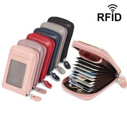 kreditkarten-geldbörse rfid Rabatt Reißverschluss-Kreditkarte-Geldbörsen-Leder, echtes Leder-Geldbörsen RFID-Kreditkarte-Halter-kleine Geldbörse
