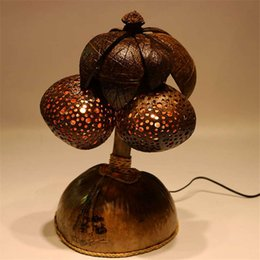 Bolas de coco on-line-Luz handmade de Tailândia, 3Sudeste Asiático, coco, coco, lâmpada do escudo, árvore creativa, lâmpada natural do quarto da lâmpada de duas esferas