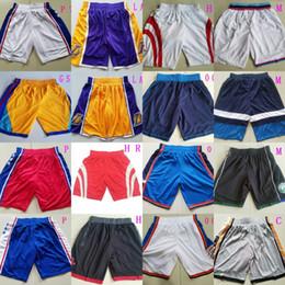 Wholesale miami shorts - Mens Basketball Shorts Los Angeles Oklahoma City Milwaukee Minnesota Houston Miami Golden State Philadelphia Classic Sportswear Wear Sports