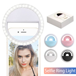 Iluminação portátil on-line-RK12 LED recarregável selfie Luz Para Iphone11 Universal selfie Lamp Mobile Phone Lens portátil anel de flash Para Samsung S20 Huawei P40 In Box