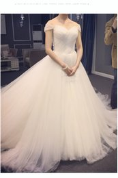 Wholesale Short Wedding Dress Long Tail - White Ivory Pleat Wedding Dress Short Sleeve Bridal Gown Simple Sweetheart Ball Gown 2018 With Long Tail
