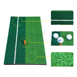 Wholesale rubber golf mat - New Golf Mat Practice Indoor Backyard Mini Golf Mat Training Hitting Pad Practice Rubber Tee Holder Grass Mat Grassroots Green