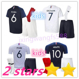 Wholesale yellow soccer kids - MBAPPE soccer Jersey kids kits 2018 World Cup Fr home blue 18 19 maillot de foot GRIEZMANN KANTE national team youth football shirt