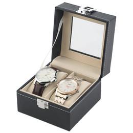 montres légères Promotion 2 grille en cuir PU noir boîtes de montre de la boîte portative poids léger montre support de stockage avec fenêtre sac cosmétique organisateur AAA988