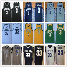 jersey misto di pallacanestro Sconti NCAA Georgetown Hoyas # 3 Allen Iverson Jersey Bethel High School Mens Vintage cucita 33 Patrick Ewing College Pullover di pallacanestro Ordine della miscela
