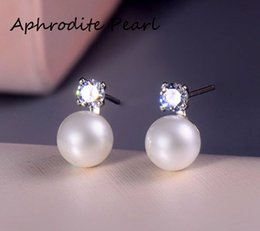 Wholesale mounted stud earrings - zircon solid sterling silver earring stud setting, earring mounting, earring blank without pearl, jewelry DIY, gift DIY