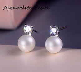 Wholesale stud earring blanks - zircon solid sterling silver earring stud setting, earring mounting, earring blank without pearl, jewelry DIY, gift DIY