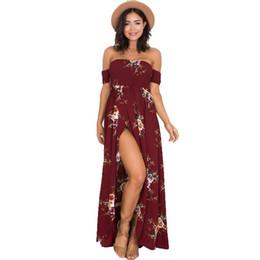 112931244301 2018 vintage boho-stil kleidung Sommer Kleider Boho Stil Langes Kleid  Chiffon Frauen Schulterfrei Strand