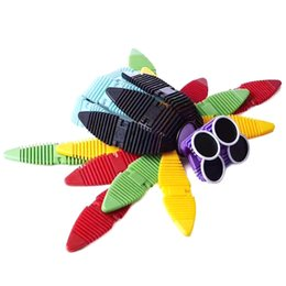 Wholesale big magnetic - 44pcs Flexible Magnetic Construction Kit Silicone Building Blocks Mix Colorful Magnetic Strips Metal Eyes Building Kits