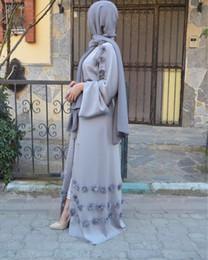 long maxi abaya Promotion Nouveau Musulman Femmes Floral Ouvert Abaya Gros Prix Usine Islamique Femmes À Manches Longues Maxi Robe S-2XL
