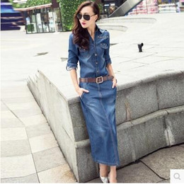 denim vestido mais tamanho colarinho Desconto New korean moda feminina turn down collar manga longa rebites patchwork denim jeans caixilhos maxi longo dress plus size 3XL