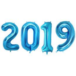 2019 globos de graduación 2019 Foil Balloons Graduation Prom Anniversary Nochevieja Mylar Number Balloons Decoraciones navideñas de 32 pulgadas (azul) globos de graduación baratos