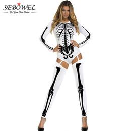2019 disfraces de miedo para adultos SEBOWEL Bone Skeleton Adult Halloween  Scary Costumes para Mujeres Blanco 641a50929fc