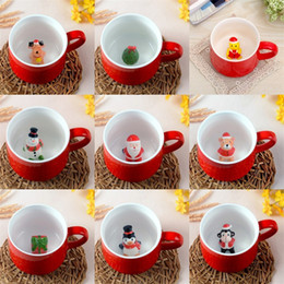 Tazze da caffè in ceramica online-3D Lovely Coffee Mug Resistente al calore Cartoon Animal Ceramic Cup Regalo di Natale Molti stili 11lv C R