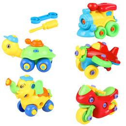 2019 blocos de plástico para bebê Bebê Brinquedos Educativos Desmontagem avião do carro Crianças Brinquedo Jigsaw DIY Parafuso Porca Grupo Instalado 3d blocos de construção de Plástico desconto blocos de plástico para bebê