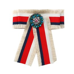 Wholesale Cool Brooches - Ethnic Cool Collar Cloth Fabric Tassel Striped Brooches Fashion Bohemian Brooch Pin Crystal Bow Brooche Women Party Duftgold