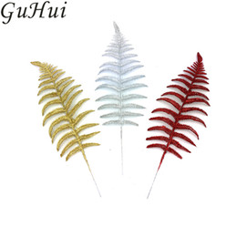 Wholesale indoor artificial trees - 5pcs Christmas Tree Leaves Accessories Gold Silver Red Artificial Branches Metasequoia Sequoia Home Party Decoration New Year