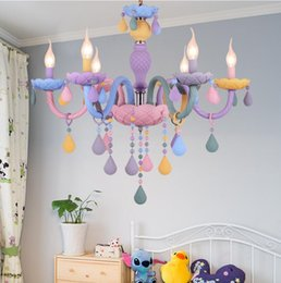 Люстры для спальни онлайн-Macaron sweet color candle chandelier restaurant lamp bedroom lamp children's room girl princess home decoration lamps.