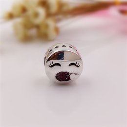 Wholesale Pandora Bracelet Gold - nbn89 Valentines Day Kiss Charm made of 925 Sterling Silver Beads Fit European Pandora Style Jewelry Bracelets