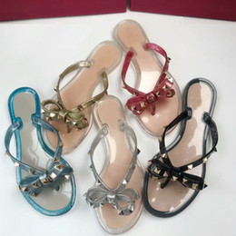 Wholesale fashion slippers for girls - Flip flops 2018 summer New arrival bow Flats beach slippers for girl rivets sandals with box