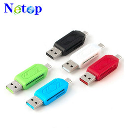2019 мобильный телефон hotsale Netop 2 в 1 USB мужчина к Micro USB двойной слот OTG адаптер с TF SD кард-ридер для Android смартфон