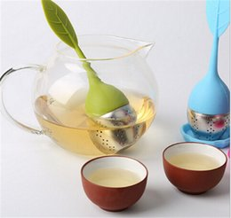 gotas de té Rebajas Silicona, acero inoxidable, hojas sueltas, colador de té, cucharadita, infusor, filtro de bola, tetera con bandeja de gotas de hierbas
