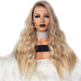 Wholesale heat resistant white wig - Long Ombre Blonde Silk body wave Synthetic Lace Front Wig Glueless Two Tone Natural Black Blonde Heat Resistant Hair Women Wigs