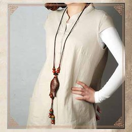 Wholesale Wood Fish Carving - National wind Mori girl personality hand-carved wooden fish exaggerated pendant retro literary long necklace sweater chain ornaments