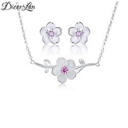 2019 collana di fiori di ciliegio Moda argento sterling 925 Cherry Blossoms Fiori Orecchini Collane Ciondolo Set di gioielli per donne sterling-argento-gioielli collana di fiori di ciliegio economici