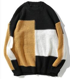 Maglione di blocco di colore degli uomini online-2018 Uomo Vintage Color Block Maglioni patchwork Hip Hop Casual Harajuku lavorato a maglia in cotone maschile Maglione Streetwear