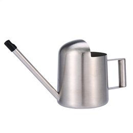 Wholesale Wholesale Metal Watering Cans - 300ml Stainless Steel Watering Cans Long Spout Round Shaped Waterings Equipments Household Green Plants Shower Pot Top Quality 26sh Y