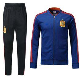 Wholesale Men S Tops - 2018 New Spain Jacket Tracksuit camiseta españa Morata A.INIESTA FABREGAS RAMOS DIEGO ISCO Top quality Men's Football Jackets Training kit
