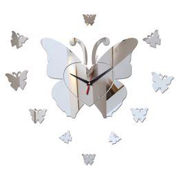 2019 relógios de flores de acrílico Chegada nova diy espelho material acrílico face única adesivos de parede estilo moderno relógios de quartzo relógios de parede borboleta decoração da parede