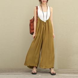 ad68da074f75 Women Overalls Wide Leg Pants Vocation Dungarees Casual Cotton Linen Jumpsuits  Long Trousers Plus Size S-5XL