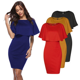 Wholesale Cheap Sexy Night Clothes - 2018 Summer Women Dress Ruffle Party Dresses 4 Colors S-XL Cheap Clothing for Club MOQ50 PICS DHL shipping